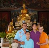 Neerav, Nathan, Aidan, and Shellie with Lucky Buddha