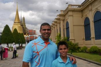 Neerav and Aidan outside Grand Palace