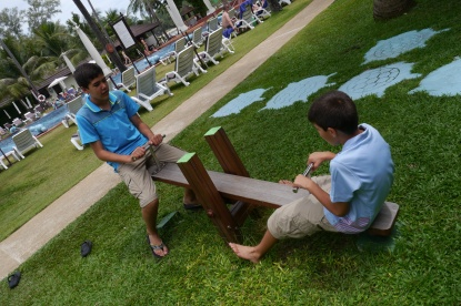 Nathan and Aidan playing... together.