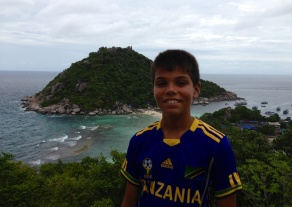 Aidan with Koh Tao in background