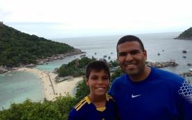 Aidan and Neerav hike for a bird's eye view of Koh Tao.