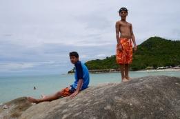 Nathan and Aidan on Chaweng Beach