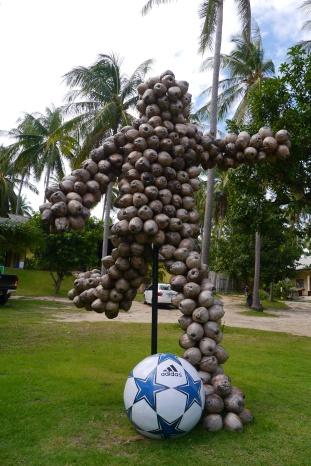 Samui Football Golf mascot, made from coconuts