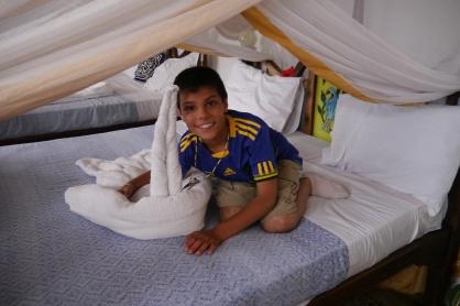 Aidan liked his towel swans.