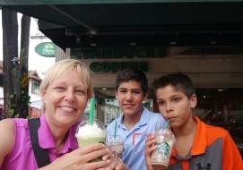 At Starbucks, I ordered a Green Tea White Chocolate Pudding Frap. It was kinda like bubble tea.