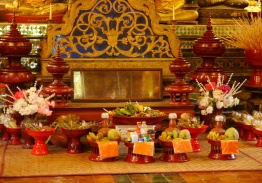 Offerings for the monks; note the Nescafe.