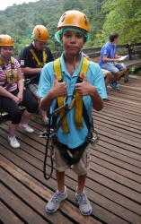 Aidan, harnessed and ready to go