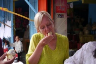 Shellie actually liked durian. It kind of tasted like a peach.