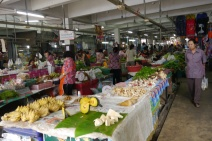 Daily market frequented by Thai people