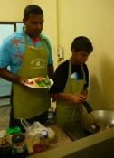Nathan and AIdan frying up some tofu.