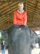 Shellie is trying to show the elephant who's in charge.