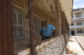 Neerav inspects barbed wire.