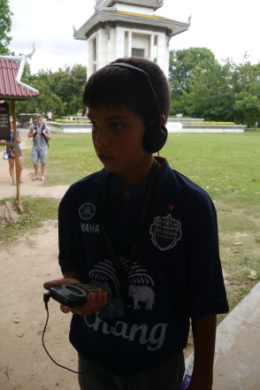 Aidan is listening to the audio tour. It was really well done.