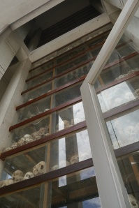 Inside the remembrance stupa is a tower of skulls and bones from thousands of victims.