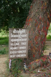 This was the most disturbing moment on the tour. The guards would take babies and children by their feet and strike them against this tree until they were dead. Hair and brain matter were found on the bark. Bracelets have been left in the children's memory.