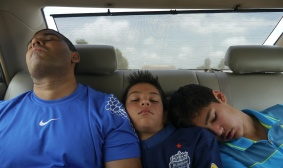 The Shah boys on a 5-hour cab ride from Phnom Penh to Siem Reap