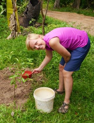 Shellie waters her tree.