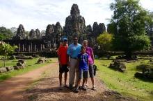 Nathan, Neerav, Aidan, and Shellie at Bayon Temple inside Angkor Thom