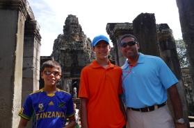 Aidan, Nathan, and Neerav approach Bayon Temple.