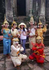 Aspara dancers with tourist