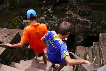 The Khmer must have had small feet because the stairs here are narrow.