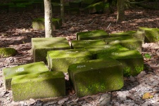 The fallen bricks are labeled to indicate their estimated position.