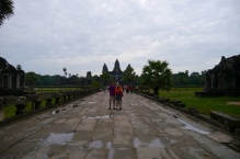 Nathan, Shellie, and Aidan on causeway to Angkor Wat