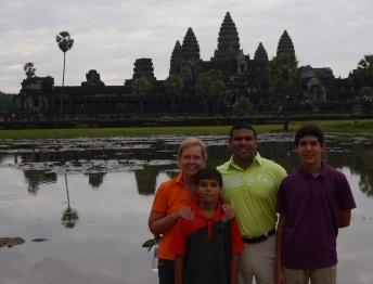 Shellie, Aidan, Neerav, and Nathan at reflecting pool in front of Angkor Wat