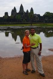 Shellie and Neerav at reflecting pool in front of Angkor Wat