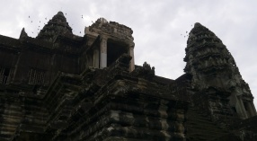 There's one central tower and four surrounding towers, all in the shape of a lotus bud.