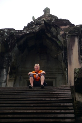 Shellie near central tower of Angkor Wat