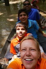 Shellie, Aidan, Nathan, and Neerav in the Flooded Forest