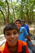 Aidan, Nathan, and Neerav enjoying the shade of the Flooded Forest
