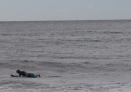 Shellie waiting for her wave