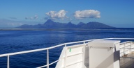 The island of Moorea, viewed from the ferry