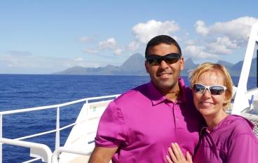 Neerav and Shellie on ferry headed to Moorea