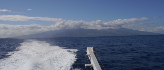 The island of Tahiti, viewed from the ferry