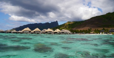 Some of the over-the-water bungalows at Hilton Moorea Lagoon Resort & Spa