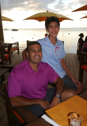 Neerav and Nathan at Moorea Beach Cafe for dinner