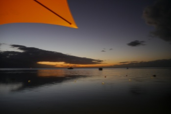 Setting sun at Moorea Beach Cafe