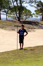 Aidan, your caddy, at the ready!