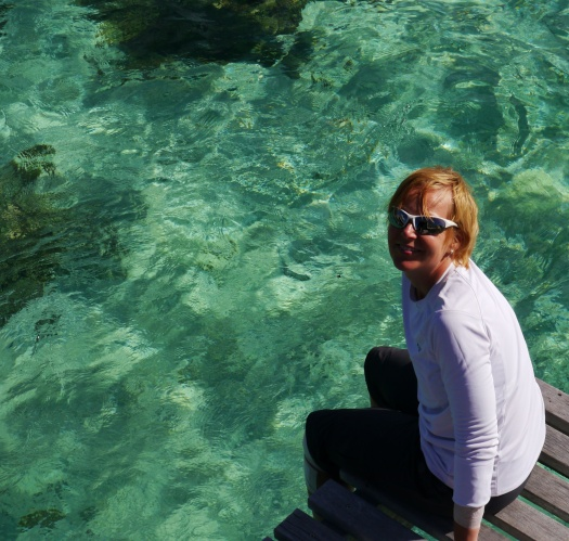 Shellie enjoys the turquoise blue water.