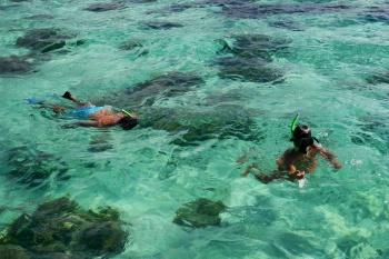 Nathan and Aidan snorkeling in Moorea