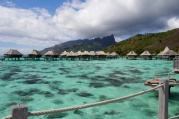There's three rows of bungalows at the Hilton Moorea Lagoon Resort & Spa.