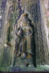 The head of this apsara was removed for illegal sale.
